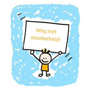 Poppetje met bord: Weg met onzekerheid - geef je kind meer zelfvertrouwen